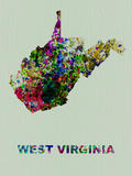 West Virginia Color Splatter Map Plastic Sign by  NaxArt