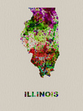 Illinois Color Splatter Map Plastic Sign by  NaxArt