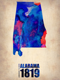 Alabama Watercolor Map Plastikschild von  NaxArt