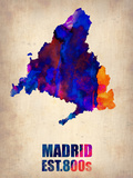 Madrid Watercolor Map Plastic Sign by  NaxArt