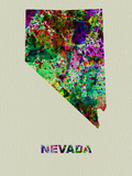 Nevada Color Splatter Map Plastic Sign by  NaxArt