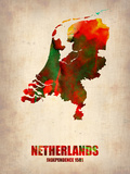 Netherlands Watercolor Map Plastic Sign by  NaxArt