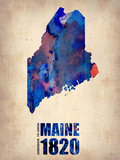 Maine Watercolor Map Plastic Sign by  NaxArt