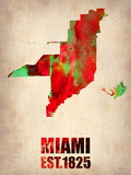 Miami Watercolor Map Plastic Sign by  NaxArt