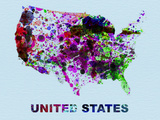 United States Color Splatter Map Plastic Sign by  NaxArt