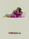 Virginia Color Splatter Map Plastic Sign by  NaxArt
