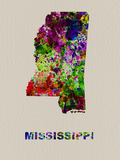 Mississippi Color Splatter Map Plastic Sign by  NaxArt