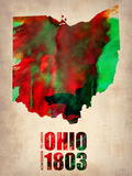 Ohio Watercolor Map Plastic Sign by  NaxArt