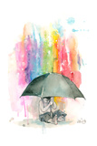 Umbrella Boy Print by Lora Zombie