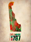 Delaware Watercolor Map Plastic Sign by  NaxArt
