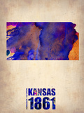 Kansas Watercolor Map Plastikschild von  NaxArt