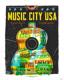 Music City USA Zeefdruk van  Print Mafia