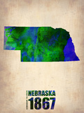 Nebraska Watercolor Map Plastikschild von  NaxArt