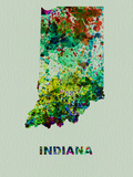 Indiana Color Splatter Map Plastic Sign by  NaxArt