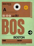 BOS Boston Luggage Tag 1 Plastic Sign by  NaxArt