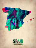 Spain Watercolor Map Plastic Sign by  NaxArt