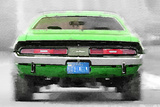 Dodge Challenger Rear Watercolor Plastic Sign by  NaxArt