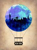 New York Blue Air Balloon Plastic Sign by  NaxArt