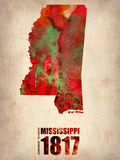 Mississippi Watercolor Map Plastic Sign by  NaxArt