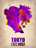 Tokyo Watercolor Map 2 Plastic Sign by  NaxArt