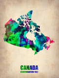 Canada Watercolor Map Plastic Sign by  NaxArt