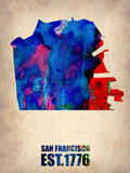 San Francisco Watercolor Map Plastic Sign by  NaxArt