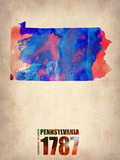 Pennsylvania Watercolor Map Plastic Sign by  NaxArt