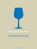 Wine Poster Blue Plastic Sign by  NaxArt