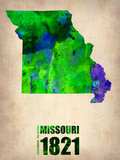 Missouri Watercolor Map Plastic Sign by  NaxArt