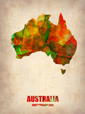 Australia Watercolor Map Plastic Sign by  NaxArt