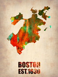 Boston Watercolor Map Plastic Sign by  NaxArt