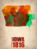 Iowa Watercolor Map Plastic Sign by  NaxArt