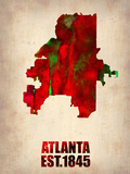 Atlanta Watercolor Map Plastic Sign by  NaxArt