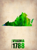 Virginia Watercolor Map Plastic Sign by  NaxArt