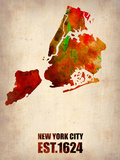 New York City Watercolor Map 2 Plastic Sign by  NaxArt