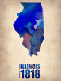 Illinois Watercolor Map Plastic Sign by  NaxArt