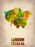 London Watercolor Map 1 Plastic Sign by  NaxArt