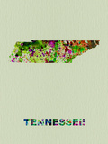 Tennessee Color Splatter Map Plastic Sign by  NaxArt