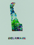 Delaware Color Splatter Map Plastic Sign by  NaxArt