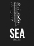 SEA Seattle Airport Black Plastic Sign by  NaxArt