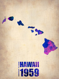 Hawaii Watercolor Map Plastic Sign by  NaxArt