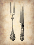 Antique Knife and Fork Plastic Sign by  NaxArt