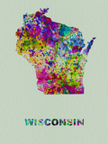Wisconsin Color Splatter Map Plastic Sign by  NaxArt