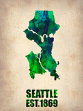 Seattle Watercolor Map Plastic Sign by  NaxArt