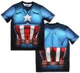 Captain America Sublimated Costume Tee T-skjorter