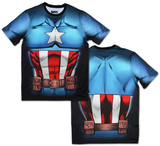 Captain America Sublimated Costume Tee Shirt