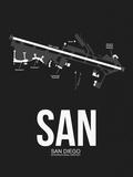 SAN San Diego Airport Black Plastic Sign by  NaxArt
