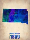 South Dakota Watercolor Map Plastic Sign by  NaxArt