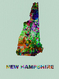 New Hampshire Color Splatter Map Plastic Sign by  NaxArt