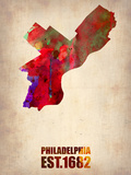 Philadelphia Watercolor Map Plastic Sign by  NaxArt